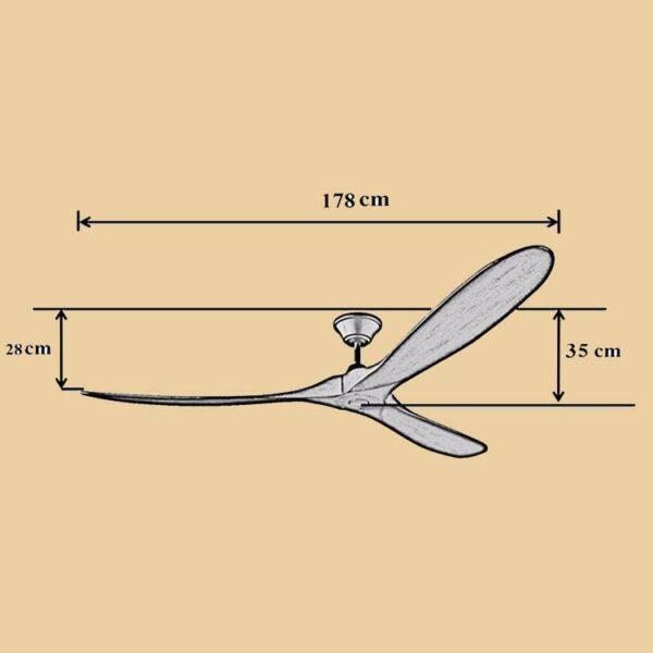 Kích thước quạt trần Royal Eagle 70