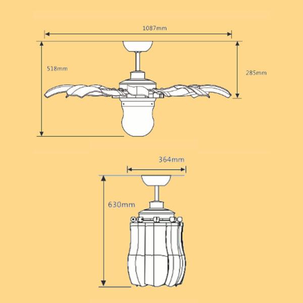 KÍch thước quạt khi được lắp đặt hoàn thiện. Chiều cao 285cm có thể giảm xuống bằng cách thay ty quạt ngắn hơn