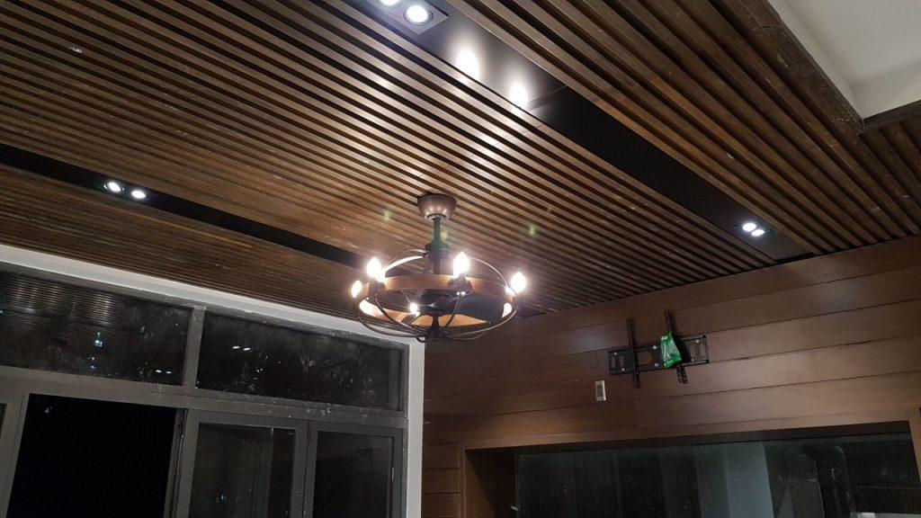 đèn chùm kèm quạt