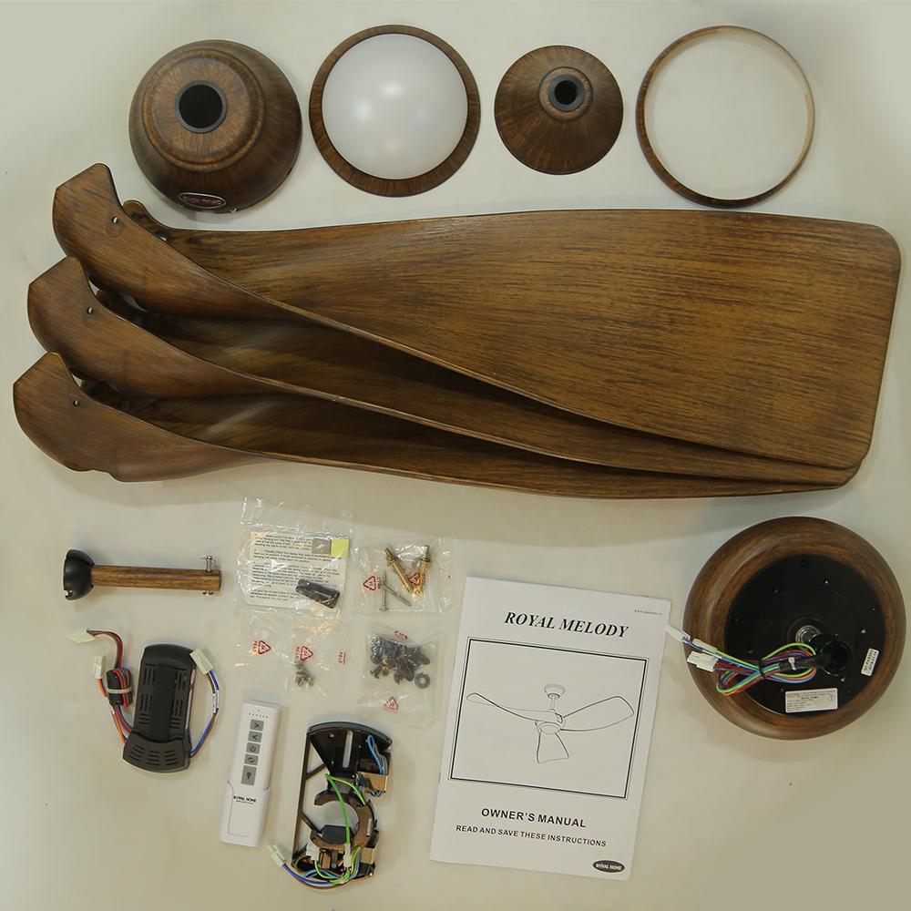 Phụ kiện đầy đủ của quạt trần Royal Melody màu gỗ