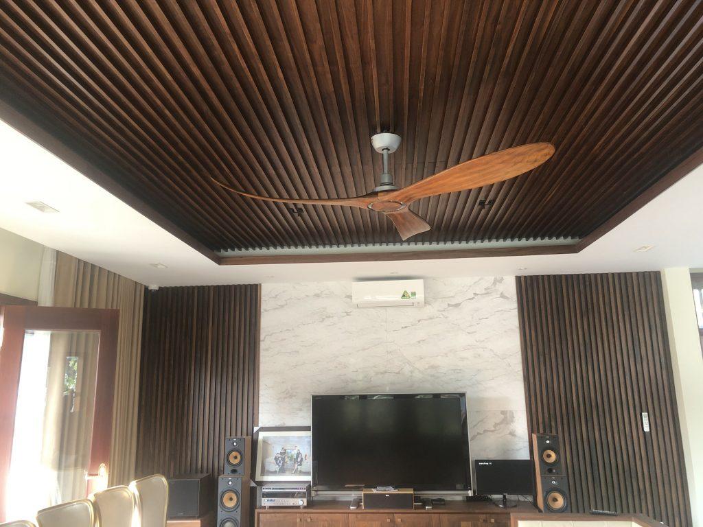 Quạt trần cánh gỗ tự nhiên không đèn